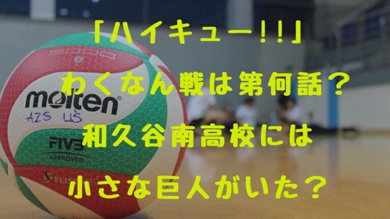 「ハイキュー!!」 わくなん戦は第何話?和久谷南高校には小さな巨人がいた?