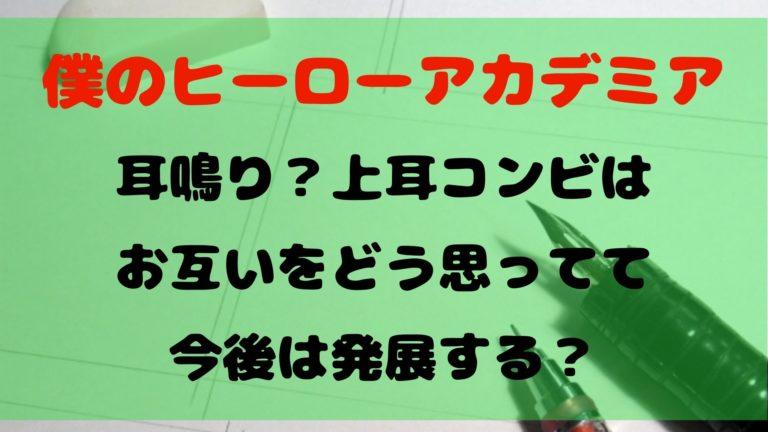 【ヒロアカ】耳鳴りコンビはお互いをどう思ってる?今後は発展する?