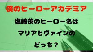 【ヒロアカ】塩崎茨のヒーロー名はマリアとヴァインのどっち?